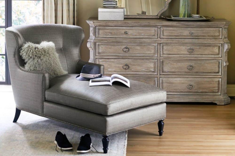 Nadine chaise 7 Nadine chaise 7.jpg By Bernhardt%5FFabric Upholstery%5FNailhead Trim%5FCurved Back and Arms%5FDecorative feet