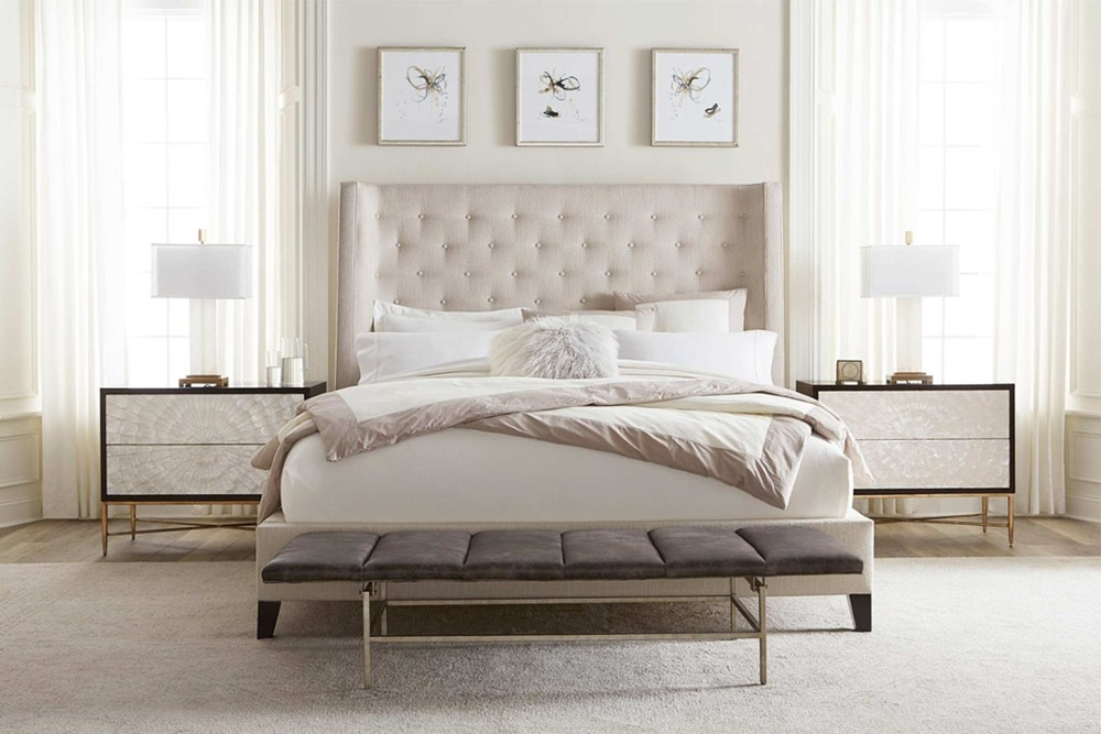 Maxime 2 Maxime 2.jpg By Bernhardt%5F Fully Upholstered buttoned headboard%5FThree slat support