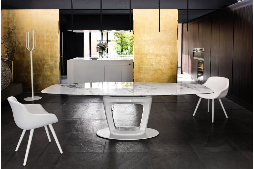 orbital setting white ceramic marble Calligaris Ceramic Tables