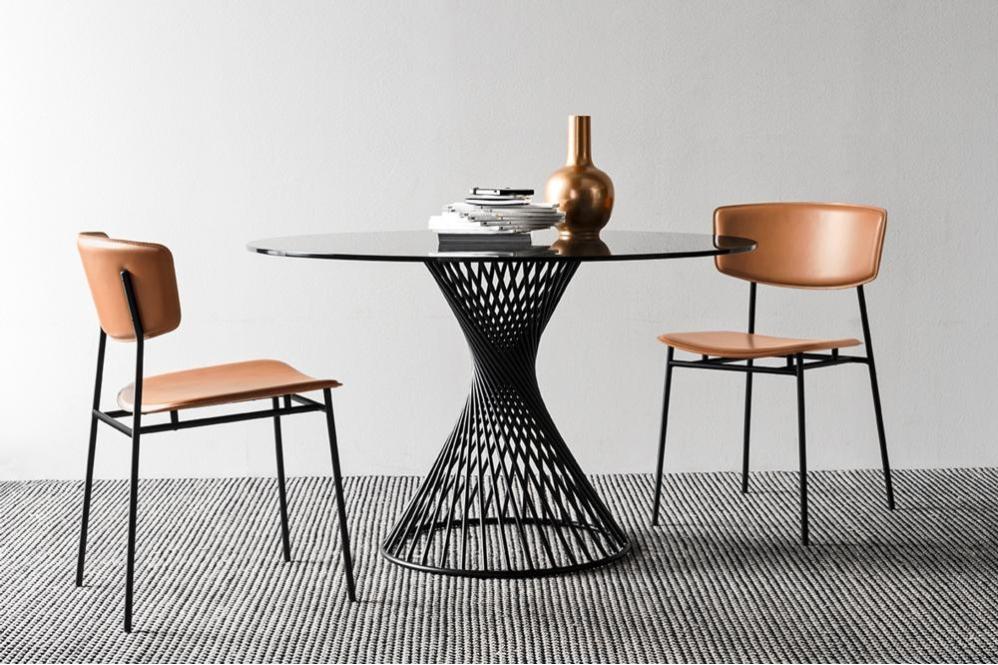 Vortex Fifties cs4108 RD P15 GTG cs1854 LH L10 Vortex Table Calligaris Metal Glass Ceramic Vortex Table - Calligaris - cs4108 - Round Table - Smoke Glass Ceramic Stone Marble Table Helical design