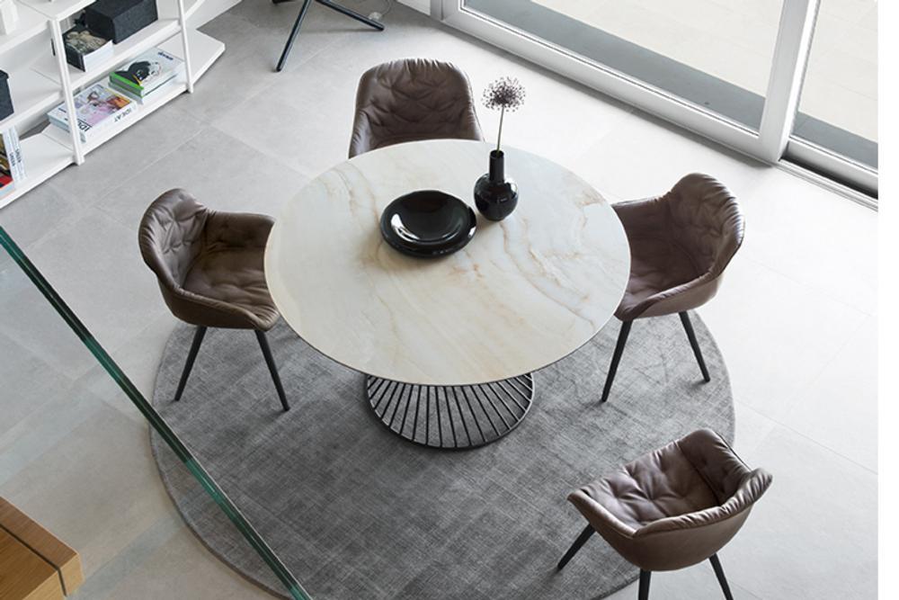 Vortex with Igloo Softcs4108 RD P15 P4C cs1841 V S0C cs6055 P UP Vortex Table Calligaris Metal Glass Ceramic Vortex Table - Calligaris - cs4108 - Round Table - Smoke Glass Ceramic Stone Marble Table Helical design