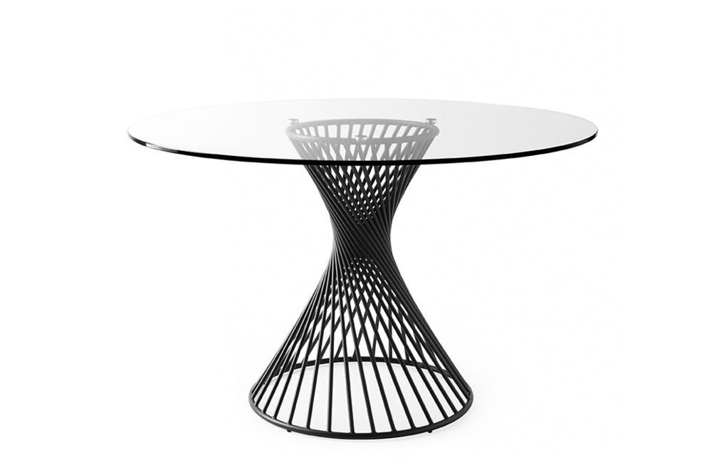 Vortex cs4108 P15 GTR 01 Vortex Table Calligaris Metal Glass Ceramic Vortex Table - Calligaris - cs4108 - Round Table - Smoke Glass Ceramic Stone Marble Table Helical design