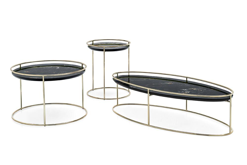 Atollo cs5098 Fam 01 cropped brass portoro nero Vortex Table Calligaris Metal Glass Ceramic Vortex Table - Calligaris - cs4108 - Round Table - Smoke Glass Ceramic Stone Marble Table Helical design
