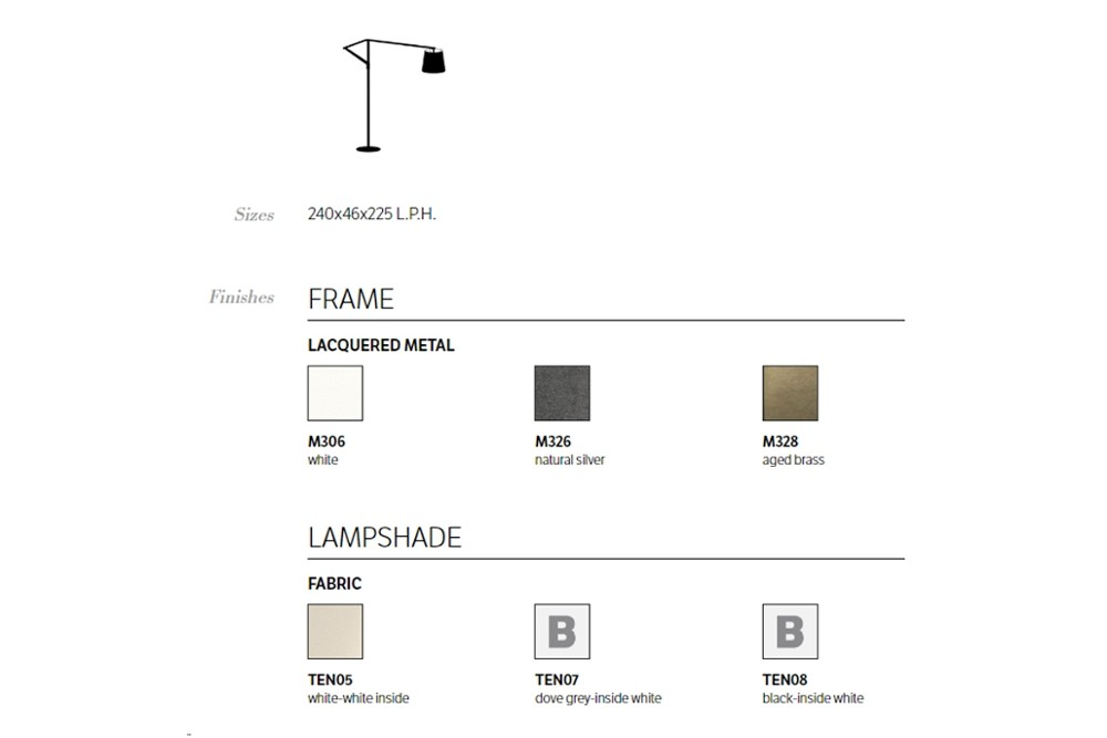 Cloe%20spec%20sheet.jpg Cloe Floor Lamp_ By Bontempi Casa_ Made in italy_Lacquered metal frame and base_ Adjustable arm_ Fabric lampshade Cloe%20spec%20sheet.jpg