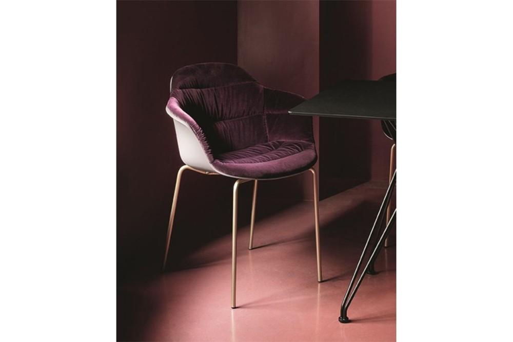 mood 34 19r m325 z006 tve03 1 mood_34-19r_m325_z006_tve03_1.jpg Mood Covered 4 Leg Metal Carver Chair by Bontempi Casa