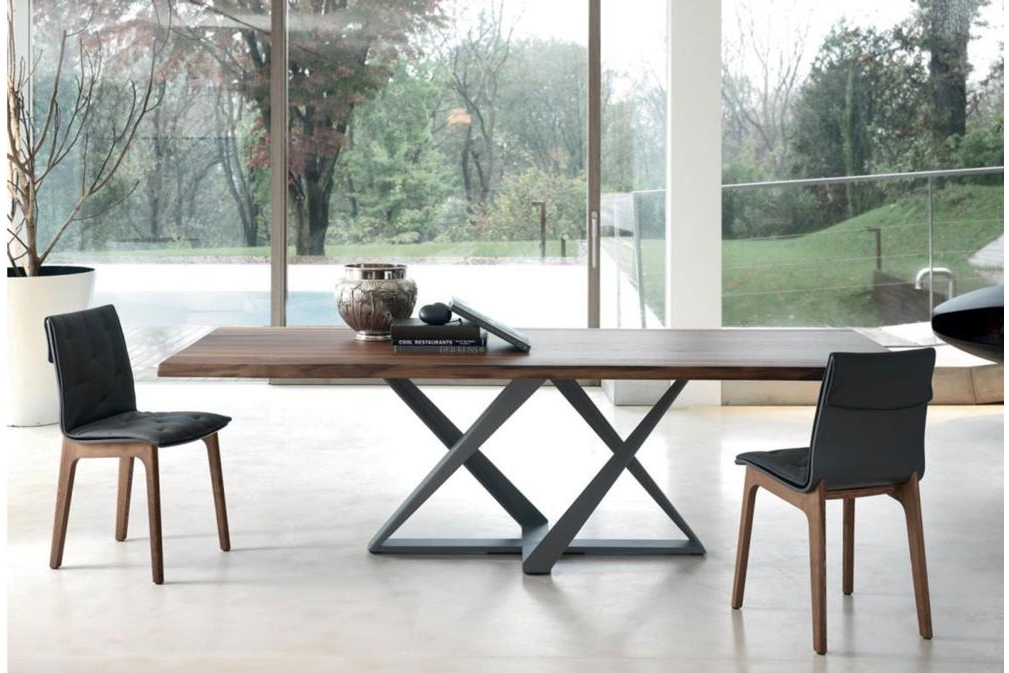 Millenium Table Walnut top Anthracite base Setting Millennium Fixed Dining Table Wood with Metal Base Millennium, Fixed, Dining Table, Wood, Metal Base, Bontempi Casa