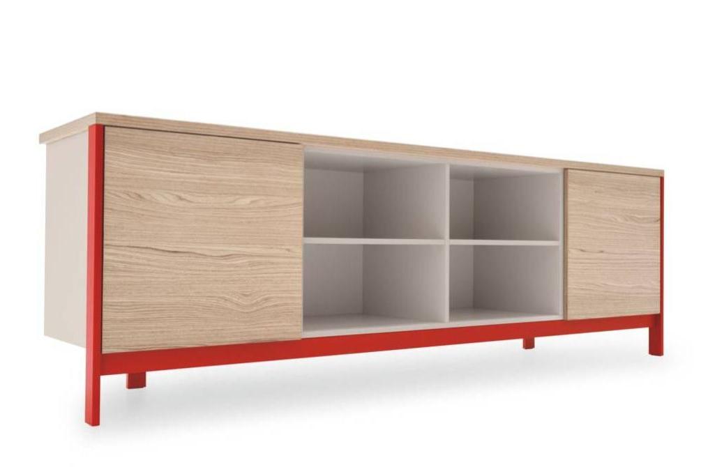 factory sideboard 2 door open shelves red Calligaris Factory storage cs6042