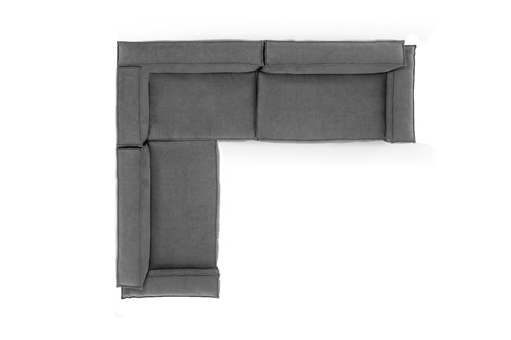 Davis Modular RHS Corner Stone Grey Davis Sofa - Amura - Stone Grey Davis Sofa Modular Stone Grey Fabric Amura made in Italy Contempo French Seam