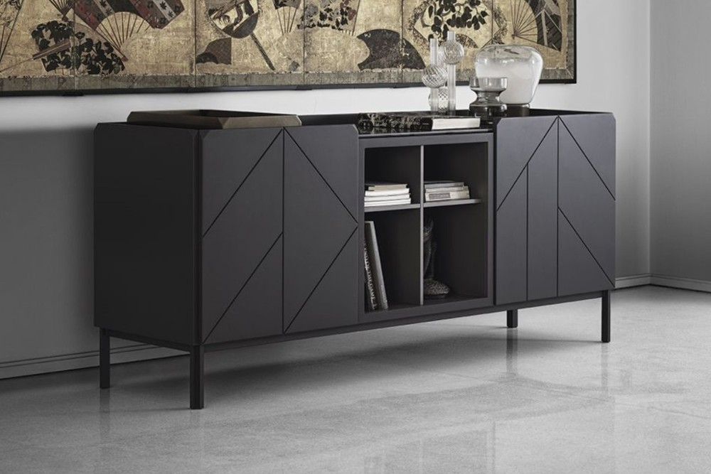 Pica%209.jpg Pica sideboard _Bontempi casa_Wooden sideboard with two hinged doors, inside clear glass shelf, side panels and doors in veneer wood, top to choose. Frame and feet in lacquered metal. Pica%209.jpg
