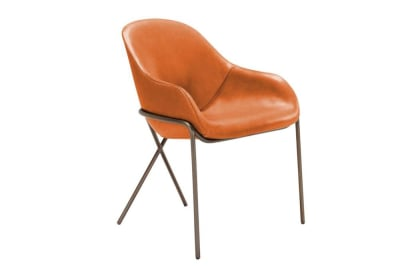Cross Leg Carver Cross%20Leg%20Armchair%20Carver%20-%20Amura%20-%20Front%20Angle%20View.jpg  Cross Leg Armchair Carver Dining Chair - Tan Leather - Amura - Front Angle Shot  Cross%20Leg%20Armchair%20Carver%20-%20Amura%20-%20Front%20Angle%20View.jpg Cross Leg Armchair Carver Dining Chair - Tan Leather - Amura - Front Angle Shot Made in Italy Metal Frame Industrial chair leather carver organic shape