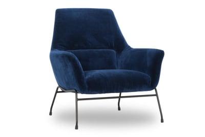 Mies Armchair: Blue Velvet