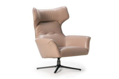 Moro Swivel Chair: Blush Leather