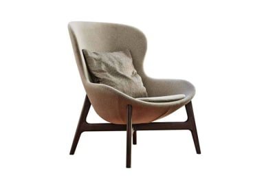 Round Armchair in People Natural Wool