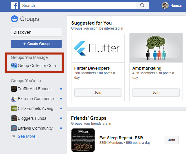 Facebook Groups You Manage