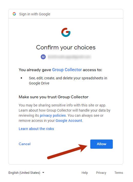 Allow Google Account