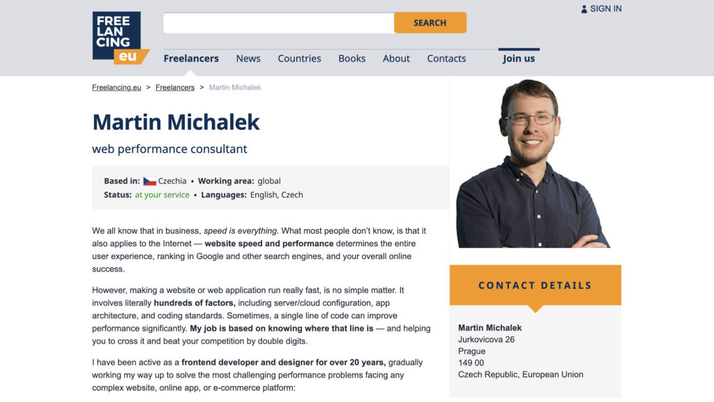Michálek - Web Performance Consultant