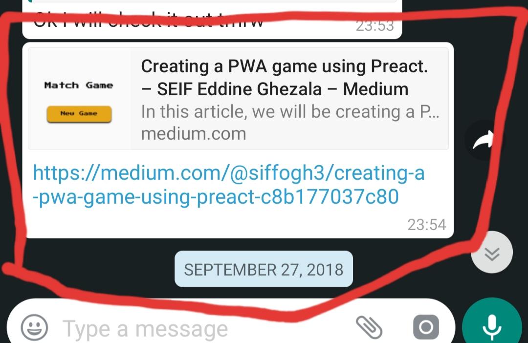 first whatsapp screenshot