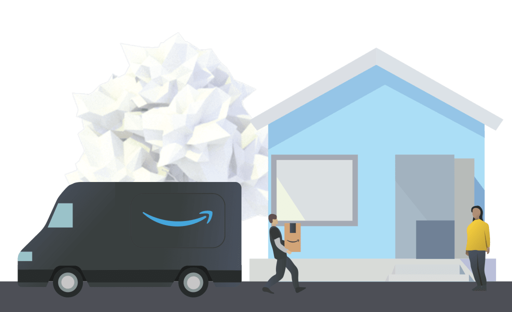 Amazon Multichannel Fulfillment delivering a package to a consumer in Amazon branded packaging