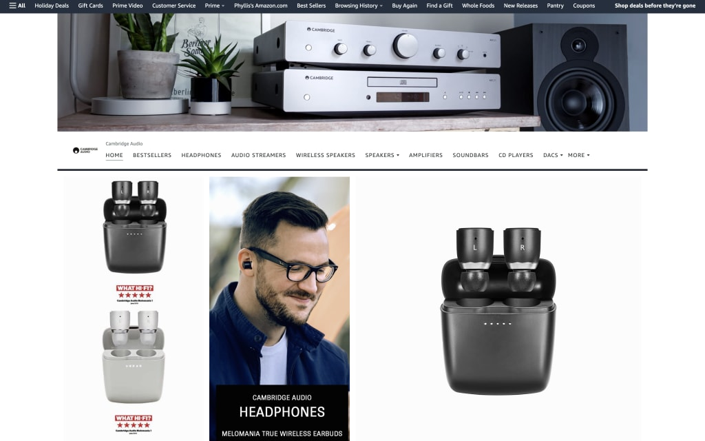 Cambridge Audio's Amazon store has excellent product photos and strong branding