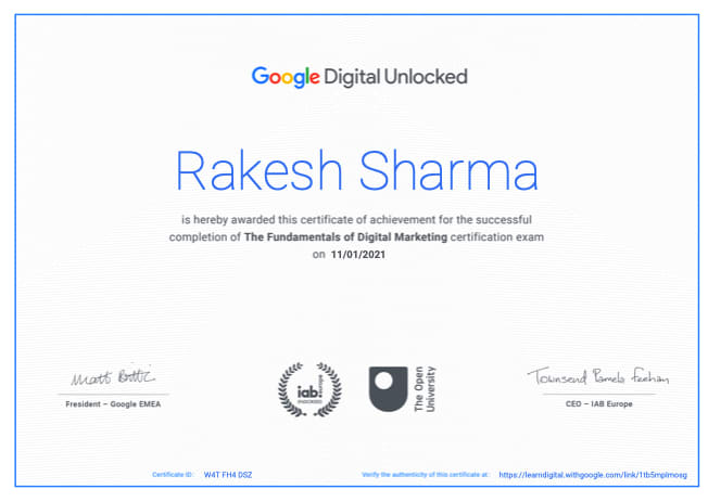 certificate-rakesh-w3axis-digital-marketing