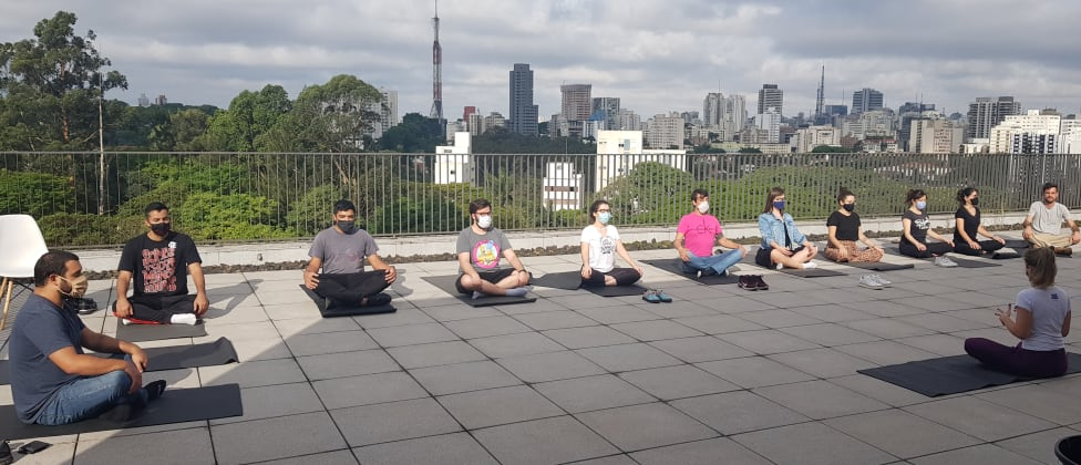 students attending yoga in our rooftop