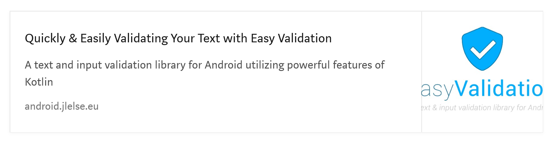Easy Validation Android Library