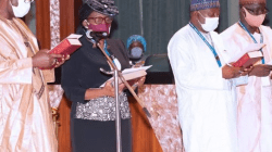 Buhari swears in four new Permanent Secretaries (photos)