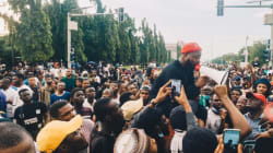 End sars: davido protests in Abuja street large crowd,photos
