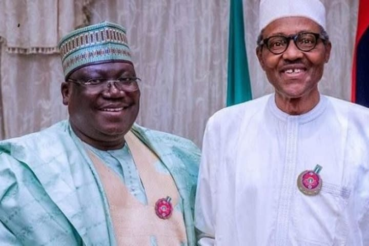 Buhari greets Senate President Ahmad Lawan at 62