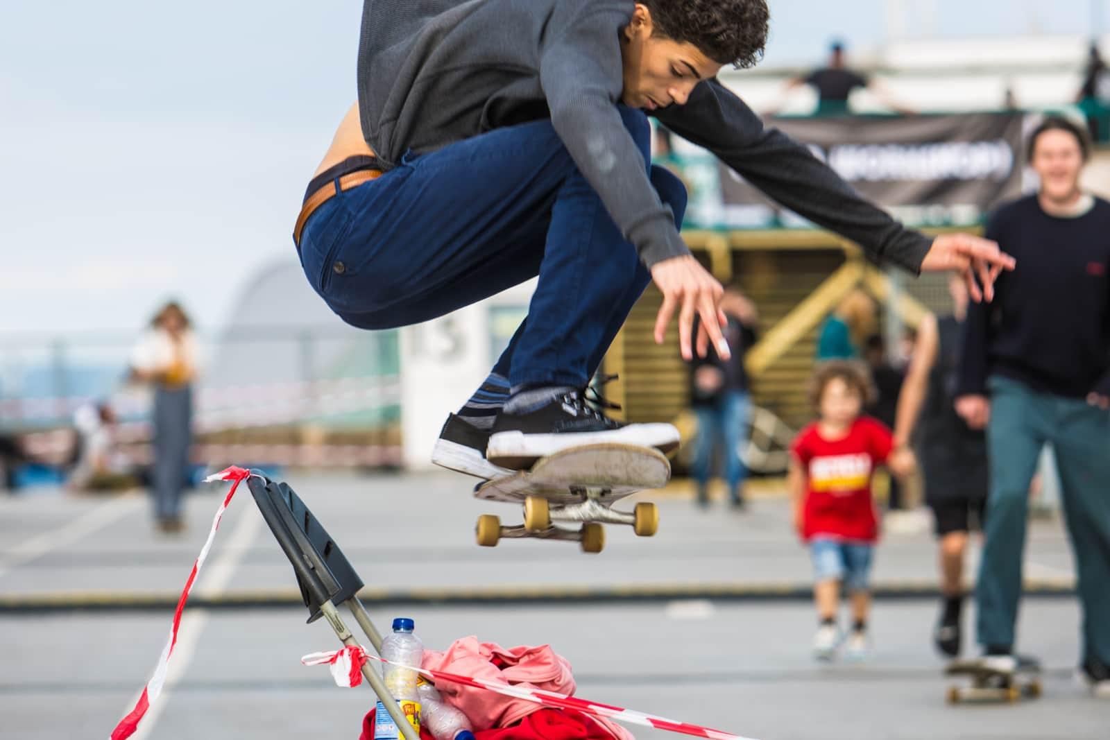 Skater grabbing some air