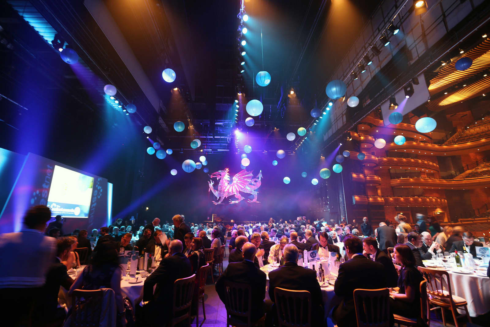 Gala dinners on the stage in the Donald Gordon Theatre