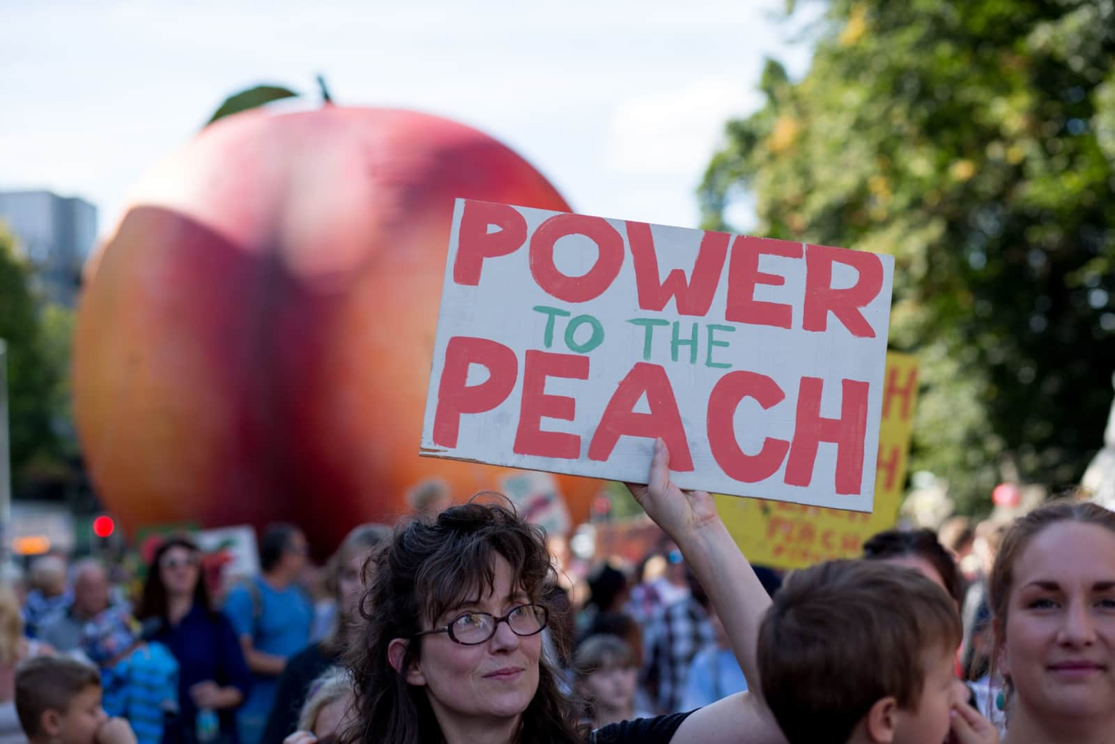 A giant peach was paraded through Cardiff in September 2016.