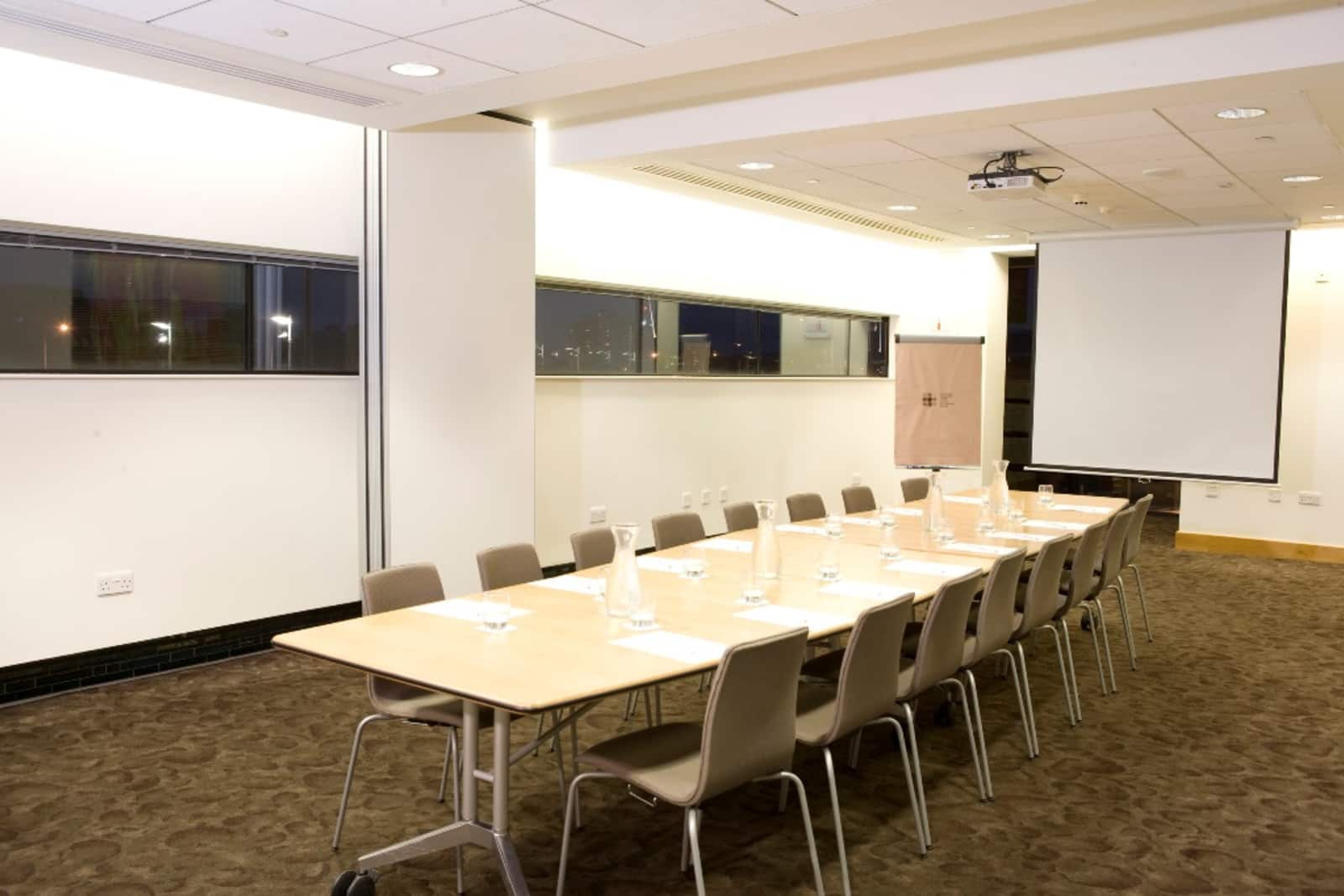 Boardroom layout for 16 people