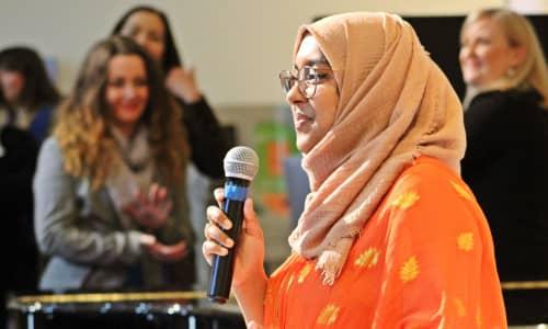 Jannat speaking at our International Women's Day Banquet