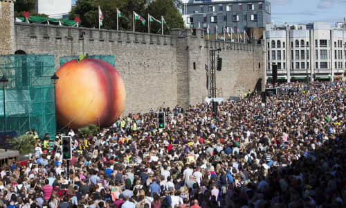 It's not every day you get to see a giant peach outside Cardiff Castle