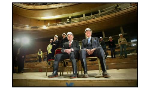 Sir Donald Gordon and Lord Rowe-Beddoe inside the Donald Gordon Theatre during its construction.