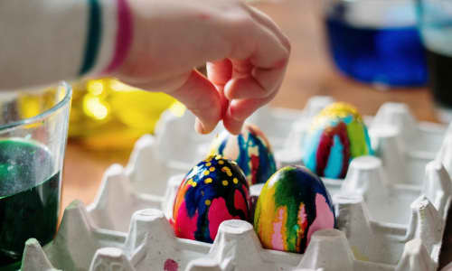 Easter eggs being painted