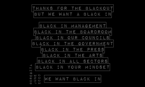 Black In artwork by Jason Camilleri featuring words in white text on a black background