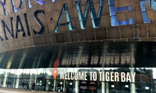 Gwaith celf Cyngor Ieuenctid Caerdydd - Welcome to Tiger Bay - ar flaen ein hadeilad