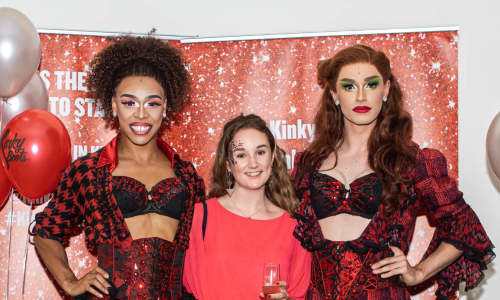 Sophie at the Kinky Boots' press night with two of the show's Angels