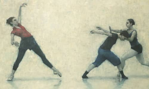 A painting by artist, Carl Chapple featuring three dancers in rehearsals