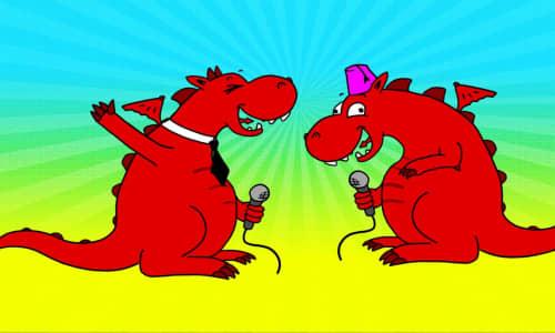 two cartoon dragons