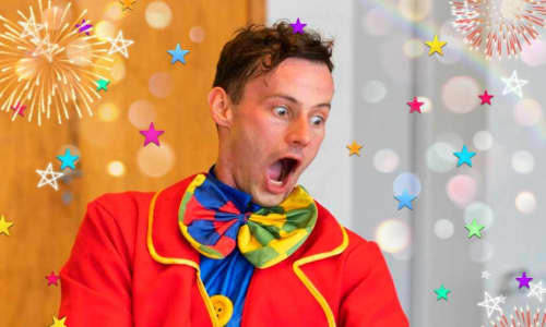 comedy clown performing