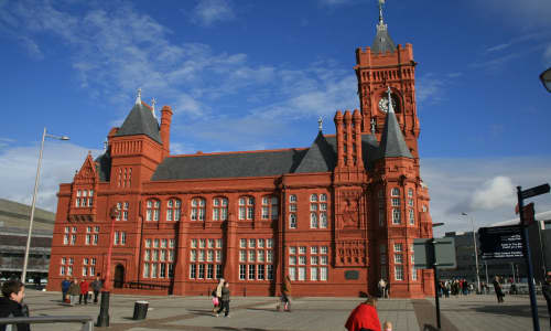 The red-bricked Pier head building in Cardiff Bay