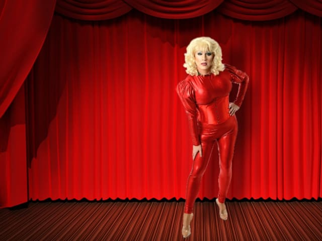Drag act in red sequins