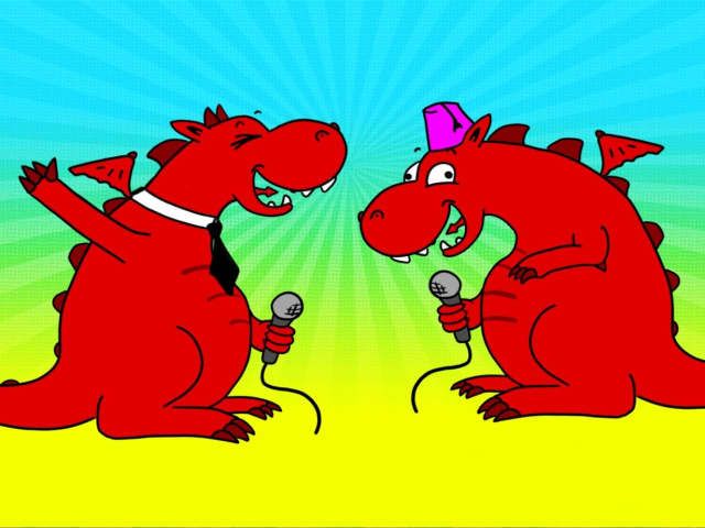 Two cartoon red dragons