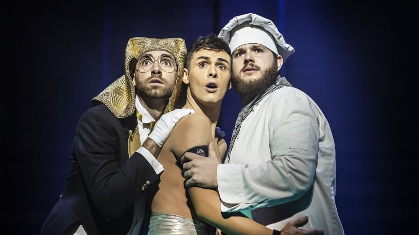 Lewis Asquith, Jaymi Hensley & Ed Tinningley in Joseph and the Amazing Technicolor Dreamcoat