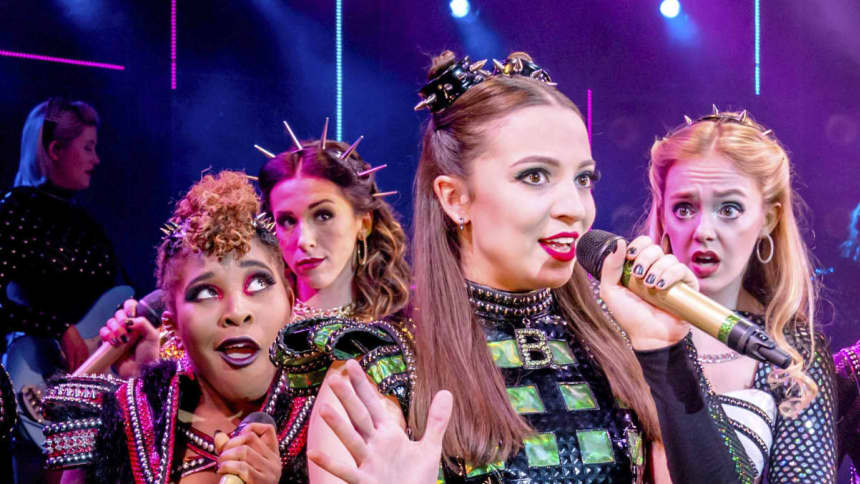 The UK Tour cast of Six the Musical; a pop musical about the six wives of Henry VIII, featuring Kat Bax, Shekinah McFarlane, Lauren Drew, Maddison Bulleyment and Lauren Bryne