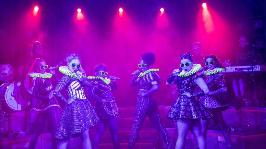 The UK Tour cast of Six the Musical; a pop musical about the six wives of Henry VIII, featuring Maddison Bulleyment, Jodie Steele, Lauren Drew, Shekinah McFarlane, Lauren Bryne, Athena Collins, Kat Ba