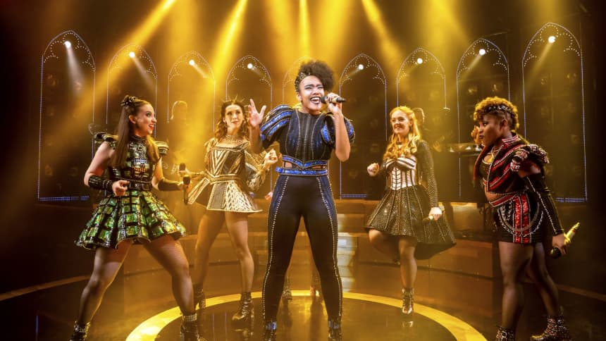 The UK Tour cast of Six the Musical; a pop musical about the six wives of Henry VIII, featuring Maddison Bulleyment, Lauren Drew, Shekinah McFarlane, Lauren Bryne and Athena Collins